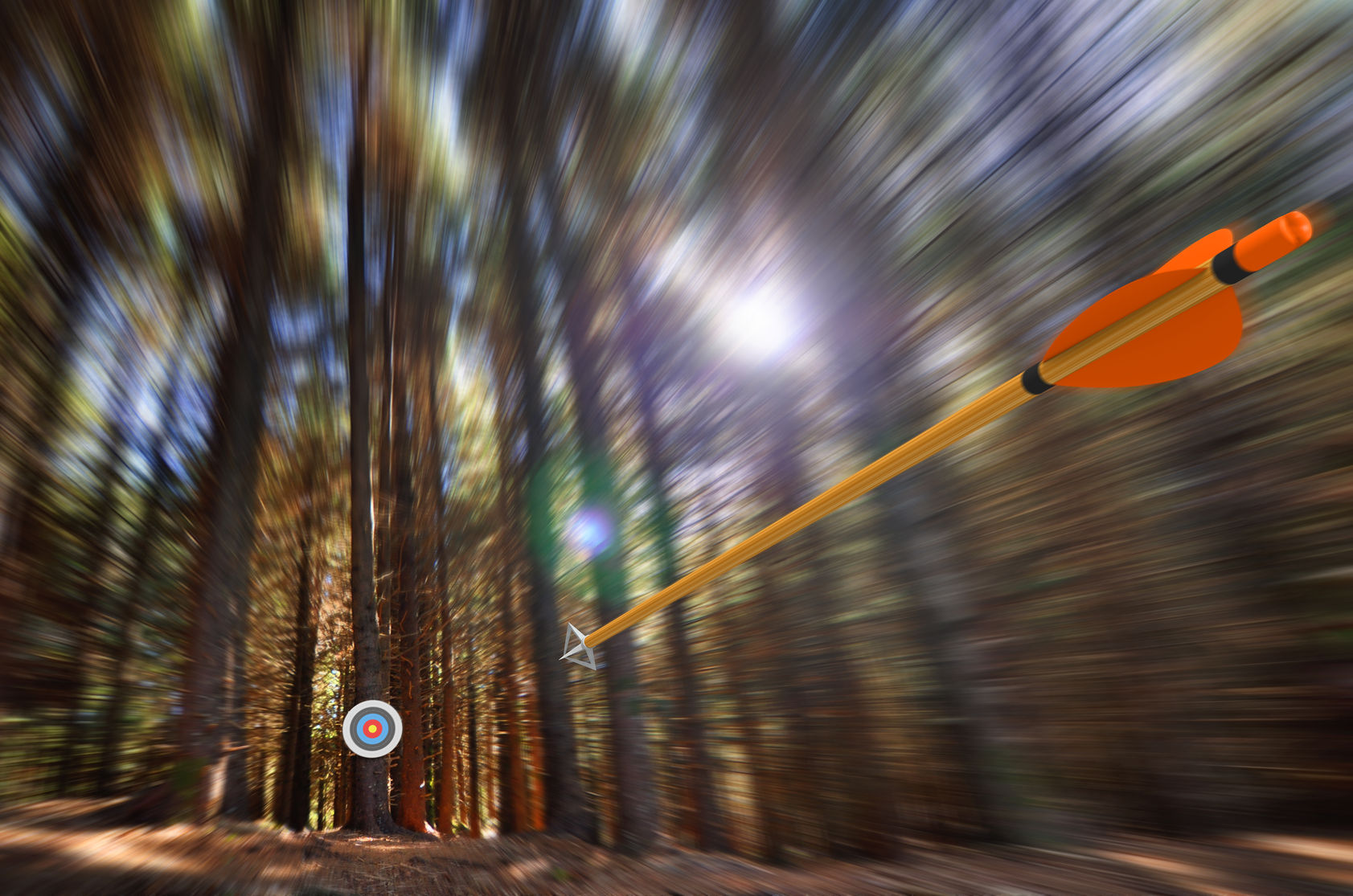 50008960 - arrow flying to target with radial motion blur