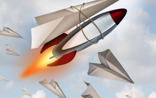 35615429 - paper airplane concept as a metaphor for increasing potential as a plane made from a white sheet with a rocket ship attached as a symbol for a winning business strategy.